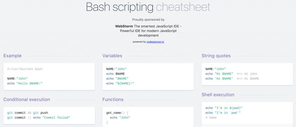 Bash scripting cheatsheet